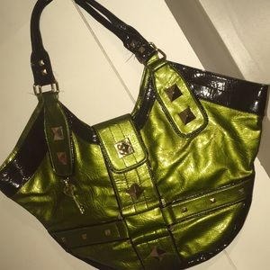 Under One Sky green gold & black paten leather bag